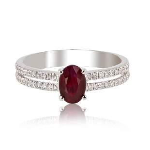 1.10 ctw Ruby and 0.24 ctw Diamond 14K White Gold Ring