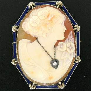 Vintage 14kt White Gold and Blue Enamel Carved Shell