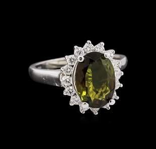 2.30 ctw Green Tourmaline and Diamond Ring - 14KT White