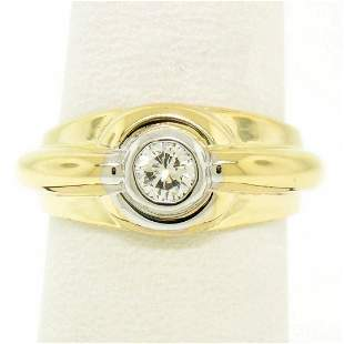 Men's 14kt Yellow and White Gold 0.40 ctw Bezel Round