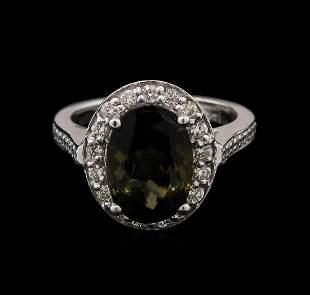 4.35 ctw Green Tourmaline and Diamond Ring - 14KT White