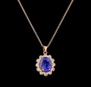 3.80 ctw Tanzanite and Diamond Pendant With Chain -
