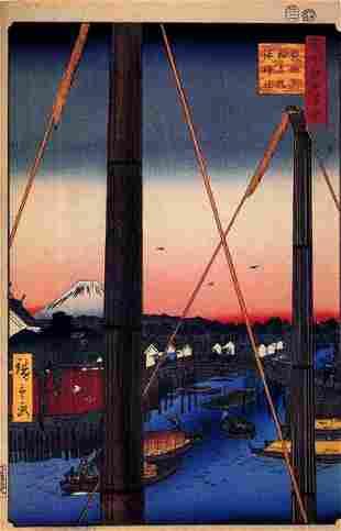 Hiroshige - Inari Bridge and Minato Shrine