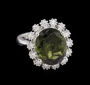 6.15 ctw Green Tourmaline and Diamond Ring - 14KT White
