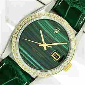 Rolex Datejust Mens 36 Green Malachite Diamond Bezel