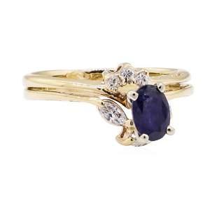 0.91 ctw Blue Sapphire and Diamond Wedding Set - 14KT