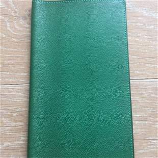 Hermes Green Leather Agenda Cover Wallet