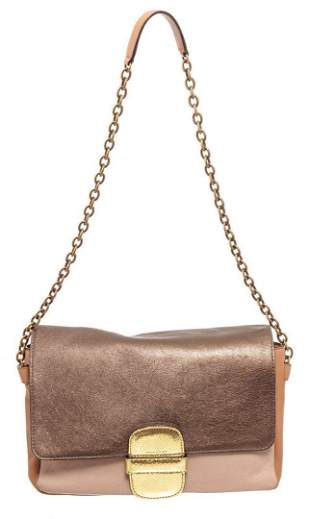 Marc Jacobs Taupe Color Block Leather Flap Shoulder Bag