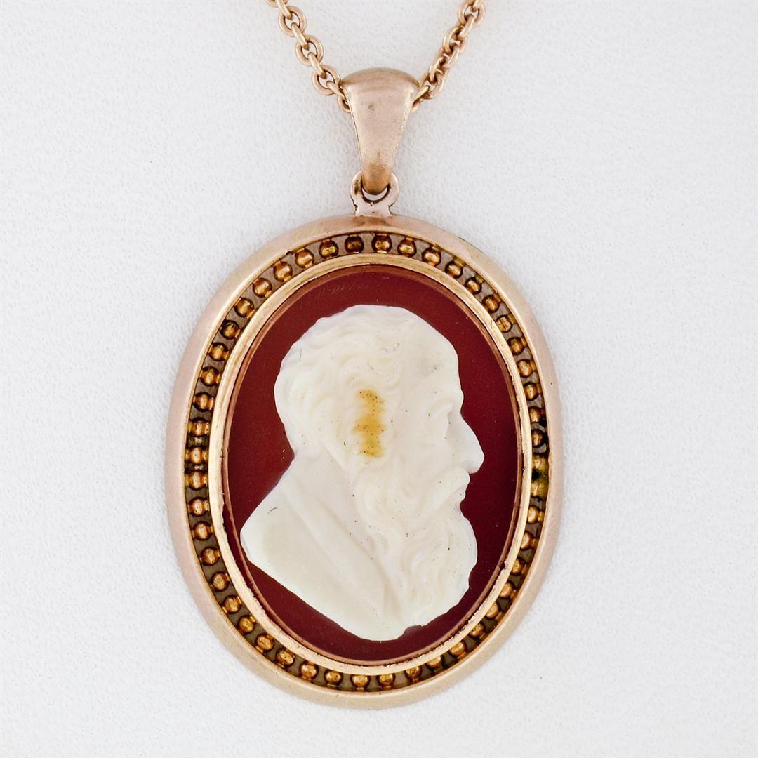 Rare Antique Victorian 14K Rose Gold Raised Carved