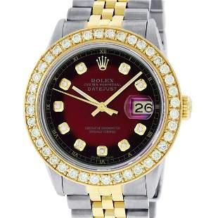 Rolex Mens 2T 18K Red Vignette 2.5 ctw Diamond Datejust
