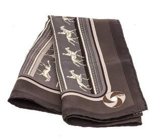 Hermes Black Gray Silk Scarf