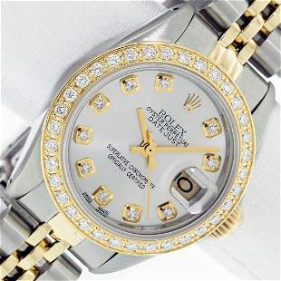 Ladies 26MM Datejust Silver Diamond Oyster Perpetual 2T