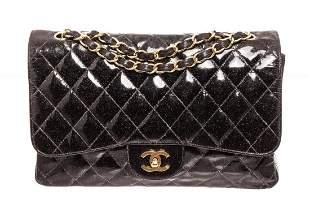 Chanel Black Glitter Patent Leather Jumbo Flap Shoulder