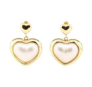 Heart Shaped Mother of Pearl Dangle Earrings - 14KT