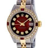 Rolex Ladies 2 Tone Red Vignette Diamond & Ruby 26MM
