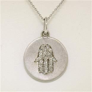 14K White Gold 0.18 ctw Diamond Hand of Fatima Hamsa