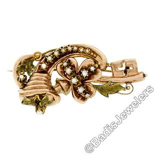 Victorian 12kt Rose & Green Gold Natural Seed Pearl