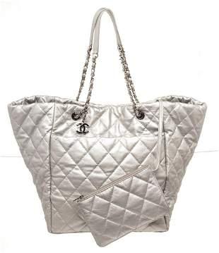 Chanel Sliver Leather Metallic Calfskin Shopper Tote