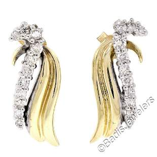 14kt White and Yellow Gold 0.60 ctw Round Diamond Wing