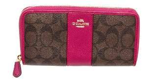 Coach Brown & Pink PVC Leather Zippy Wallet