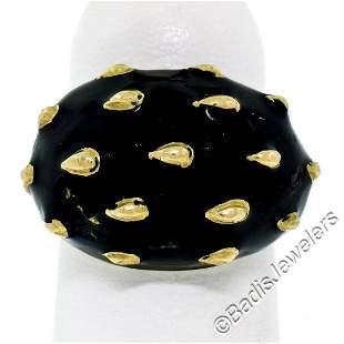 Vintage 18kt Yellow Gold Black Enamel Raised Dot Wide