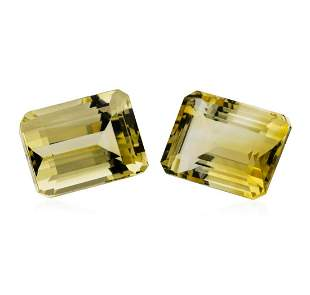 27.63 ctw.Natural Emerald Cut Citrine Quartz Parcel of