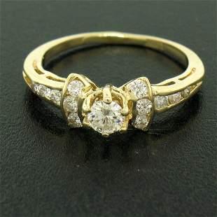 14k Yellow Gold Petite 0.42 ctw Round Diamond