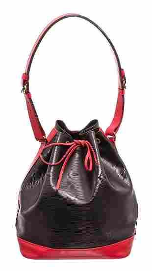 Louis Vuitton Red Black Epi Leather Noe GM Bucket Bag