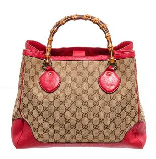 Gucci Red Leather GG Brown Canvas BB Bamboo Handle Tote