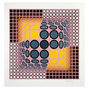 Pink Composition by Vasarely (1908-1997)