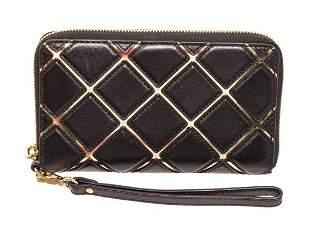 Michael Kors Black & Gold Leather Jet Set Wallet