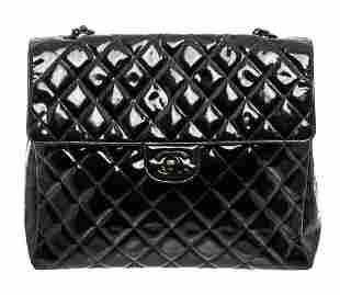 Chanel Black Patent Leather Large Flap Shoulder Bag