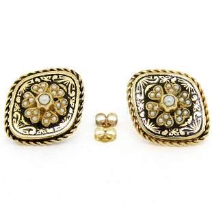 Antique Victorian 14K Gold Seed Pearl & Black Enamel