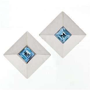 Chopard 18k White Gold 5.40 ctw Step Cut Blue Topaz