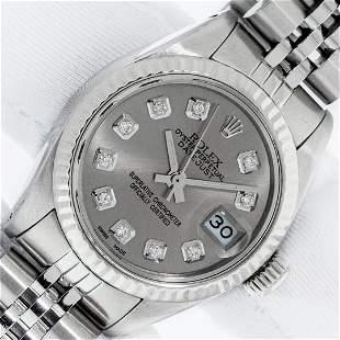 Rolex Ladies Stainless Steel Slate Grey Diamond 26MM