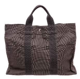Hermes Black Gray Canvas Herline Bag GM Tote Bag