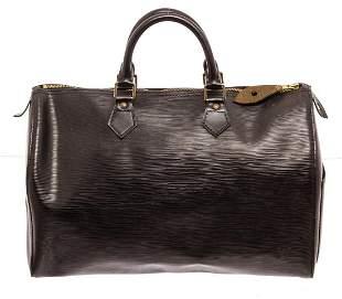 Louis Vuitton Black Epi Leather Speedy 35 Satchel Bag
