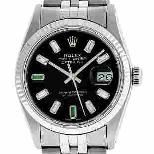 Rolex Mens Stainless Steel 36mm Black Diamond Dial
