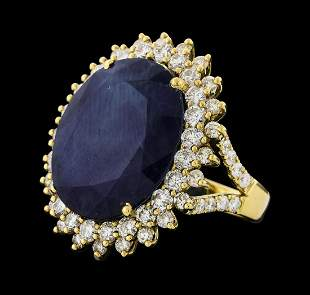19.72 ctw Sapphire and Diamond Ring - 14KT Yellow Gold