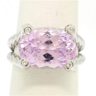 14k White Gold Twisted Cable 8.5 ctw Oval Kunzite
