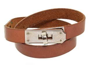 Hermes Brown Leather Palladium Plated Kelly Choker