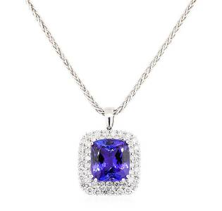 50.20 ctw Tanzanite and Diamond Pendant & Chain - 14KT
