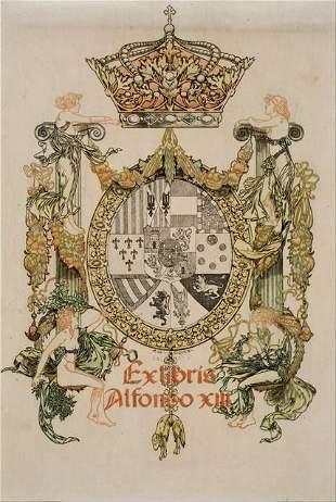 Alexandre de Riquer - Book-Plate of Alfons XIII