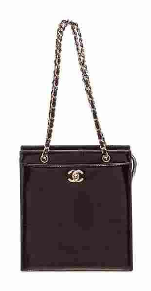 Chanel Black Patent Leather CC Small Tote Bag