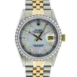 Rolex 2T Mother Of Pearl Diamond 36MM Oyster Perpetaul