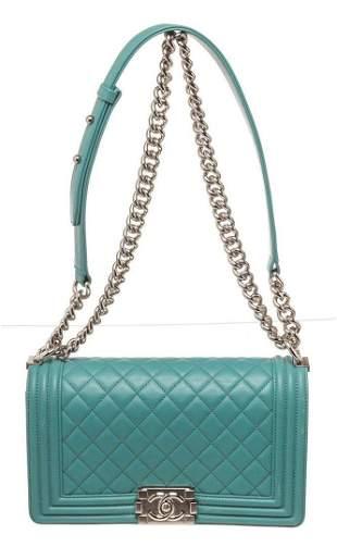 Chanel Green Lambskin Leather Small Boy Bag
