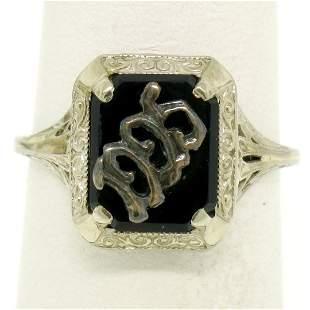 1925 14k White Gold Prong Set Black Onyx Filigree