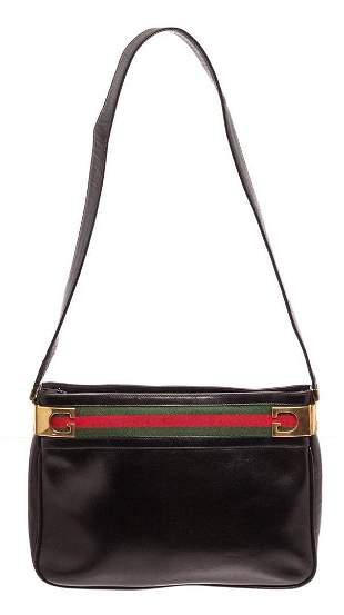 Gucci Black Leather Vintage Shoulder Bag