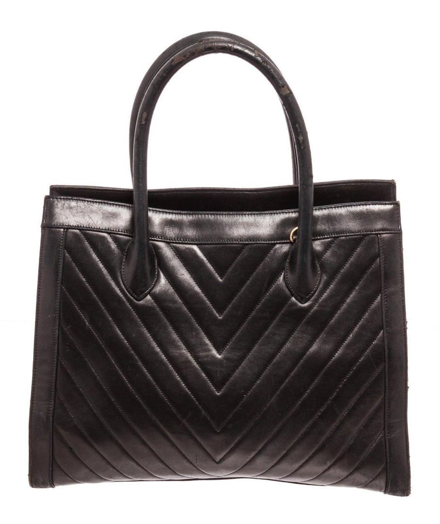 Chanel Black Leather Double Handle Tote Bag