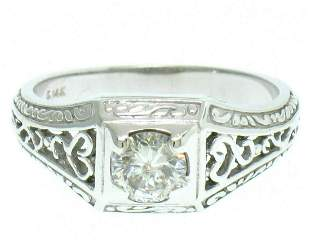 14k White Gold Etched Open Filigree Work .51 ctw